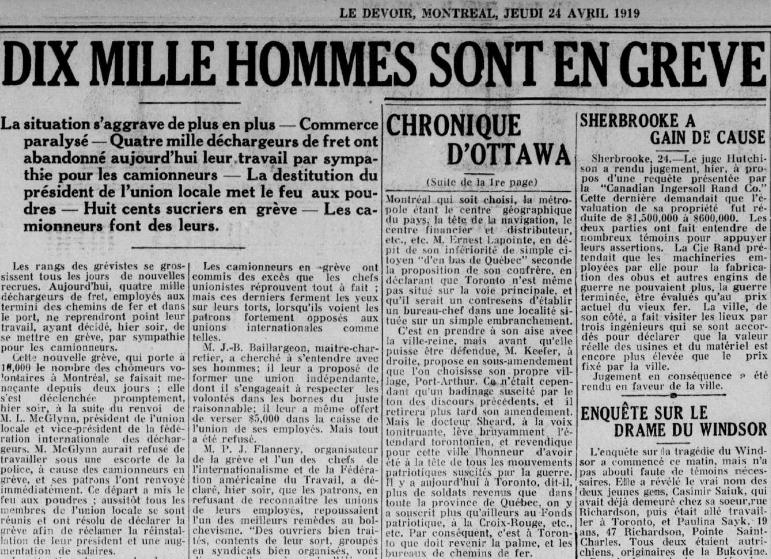 Grève 1919 Montréal
